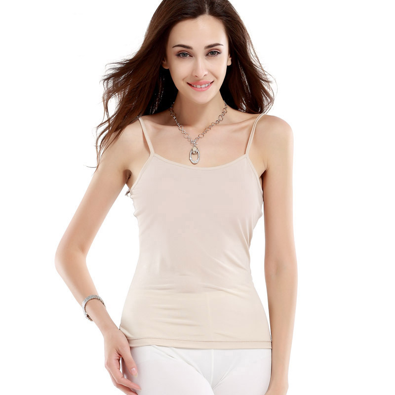 <font><b>100</b></font>% <font><b>Silk</b></font> Knitted Camisole Pure <font><b>Silk</b></font> Fabric Women Thin Camisole with Adjusted Strap with Stretch High Quality Free Shipping image