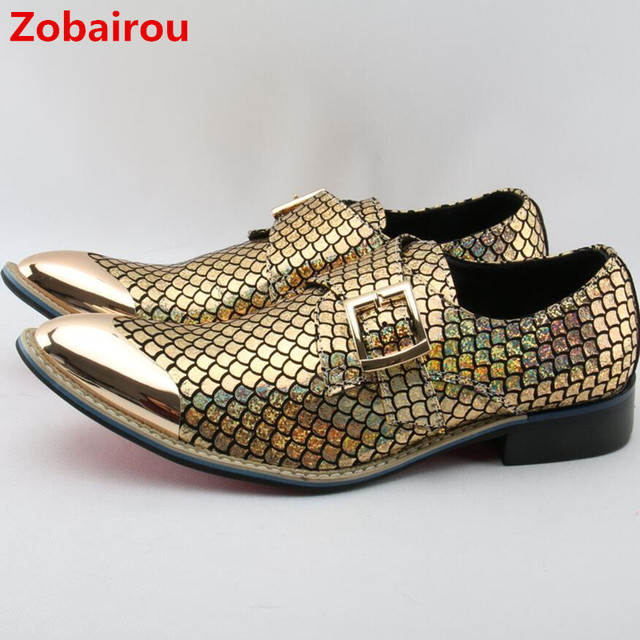 Zobairou sapato masculino gold Metallic mens shoes glitter loafers brogue  italian shoes for dance formal shoes men shoe lasts 77e4e88e2f5d