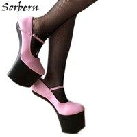 Sorbern/пикантные женские туфли лодочки mary janes с копытами; пикантные туфли лодочки на высоком каблуке; Женская обувь в стиле Гаги; обувь знамени