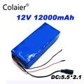 Colaier 12В 12Ач 18650 батарея 12В 12000 мАч 10С аккумуляторные батареи для цифровой аварийной мощности Светодиодный свет