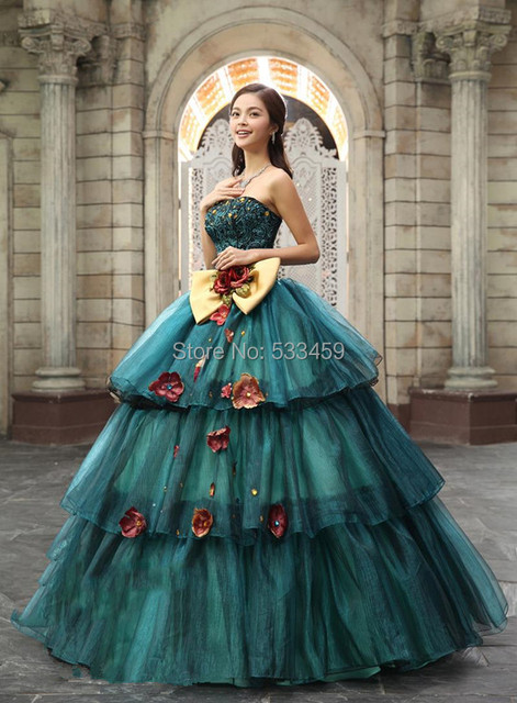 Free Shipping Lace Flowers Detachable Dress 2014 New Masquerade Princess Modern Quinceanera 15 Anos Ball