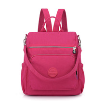 Casual nylon backpack Teenage student schoolbag Waterproof solid color backpacking  Multi-function anti-theft