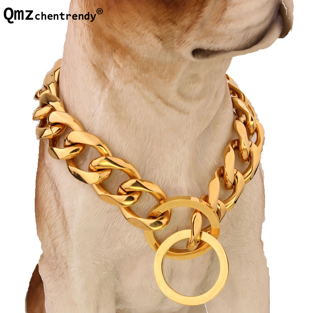 Top quality 19mm 12~34 inch Gold Silver Tone Double Curb Cuban Pet Link Stainless Steel Large Dog Chain Collar Pet Necklaces
