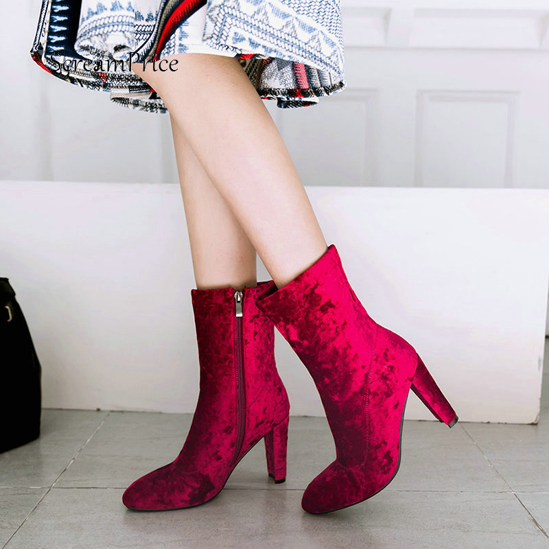 Woman The New Square High Heel Faux Suede Winter Ankle Boots Fashion Side Zipper Dress Ladies Boots Black Gray Red кроссовки bris кроссовки