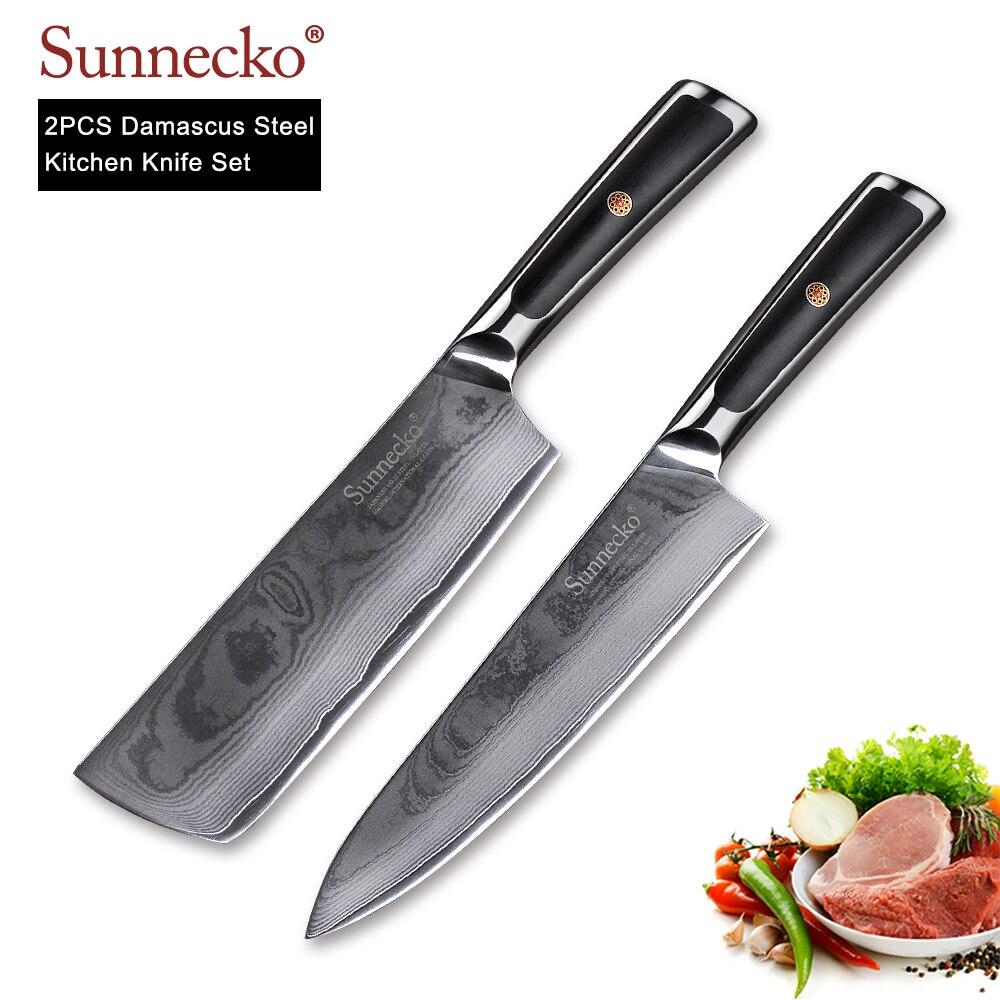 SUNNECKO 2 piezas conjunto de cuchillos de cocina cuchillo Chef cuchillo japonés VG10 de acero de Damasco de afeitar afilada G10 manejar cortador de carne herramientas-in Conjuntos de cuchillos from Hogar y Mascotas    1
