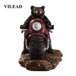 VILEAD 17cm Resin Bear On Motor Statue Cute Bear Figurine Modern Animal Sculpture With Light Home Decoration Accessories Offices