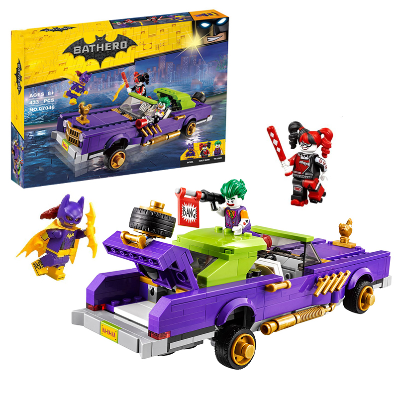Compatible with legoelieds Batman 433pcs Super Heroes Movie Joker's Car Building Block sets Bricks model Toys for boys loz 9402 transformation optimusprime diamond bricks minifigures building block best legoelieds toys