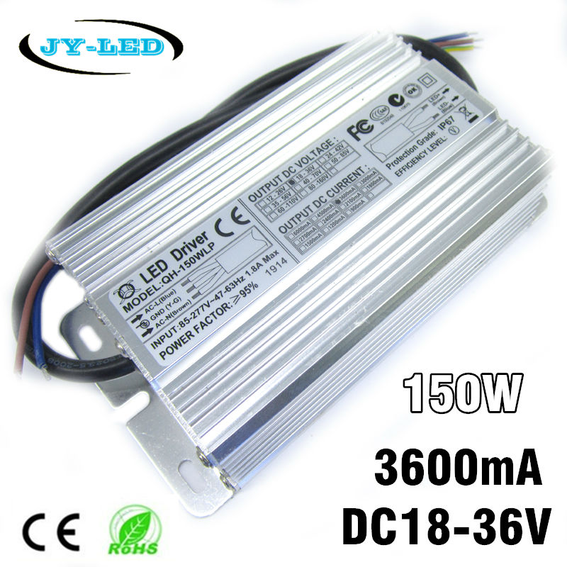 150W High Power LED Driver 3600mA DC18-36V High PF 8-10 Serise * 12 Parallel Watperproof IP67 Aluminum Power Supply