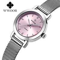 Новинка WWOOR роскошные женские часы известных брендов розовый циферблат модный дизайн дамские часы женские наручные часы Relogio Femininos