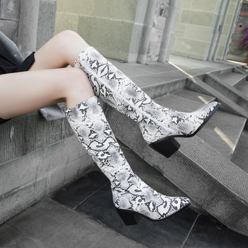 2019 Thick High Heels Knee High Boots Women Snake Pattern Printing Zipper Boots Autumn Winter Fashion Ladies Shoes Large Size 12