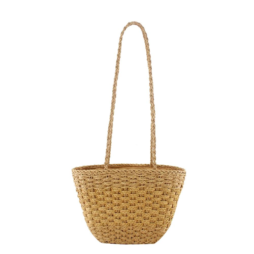 Solid Color Vintage Straw Bag Shoulder Woven Bag Casual Handbags Travel Beach Bags Totes Handmade Fashion Woven BagsSolid Color Vintage Straw Bag Shoulder Woven Bag Casual Handbags Travel Beach Bags Totes Handmade Fashion Woven Bags