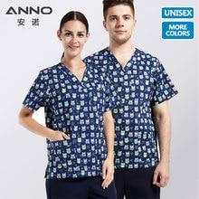 ANNO V Neck Nursing Uniforms print Medical Clothing Scrubs Suits Top Bottom  Nursing Uniform Surgical Clothes Medical Dress
