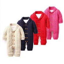 Baby Rompers Winter 2016 Newborn Boys Girls Warm Romper Double Breasted Jumpsuit Baby Romper cotton Sweater infant Rompers