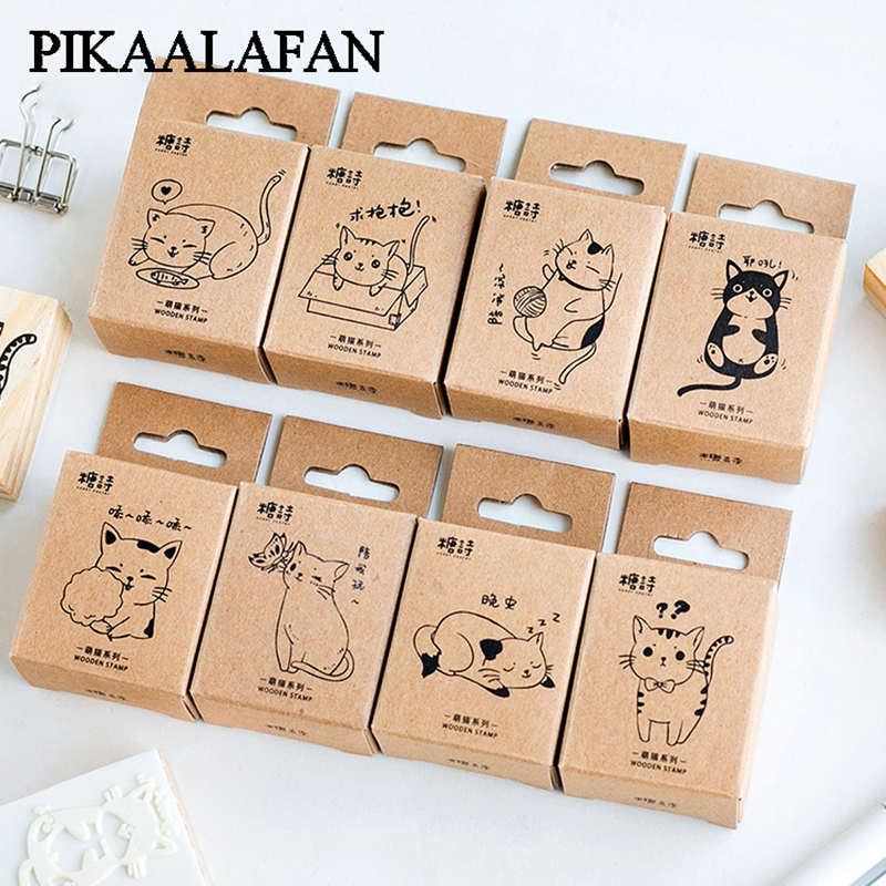 PIKAALAFAN Cute Cat Series Boxes Wood Stamp Scrapbook DIY Photo Album Card Decoration Craft Wooden Rubber  Stamp Toy