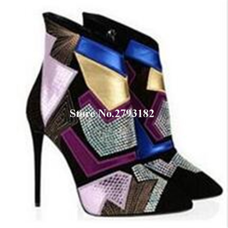 Women Top Brand Design Pointed Toe Bling Bling Mixed-colors Stiletto Heel Short Boots Purple Black Patchwork Crystal Ankle BootsWomen Top Brand Design Pointed Toe Bling Bling Mixed-colors Stiletto Heel Short Boots Purple Black Patchwork Crystal Ankle Boots