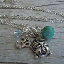 цена на Buddha Om Necklace For Women Beads Yoga Chakra Pendant Necklace Collier Choker Jewelry Ornaments  Fashion Vintage Silver New