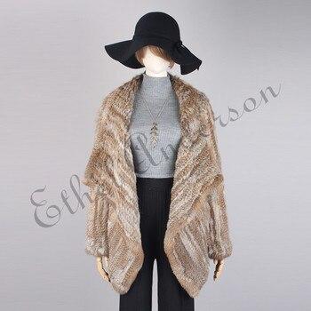 Lady Hand Knitted Coat/Cardigan Retro Novelty Real Rabbit Fur Jacket Big Turn-down Collar Chic Thick Long Sleeve TopIrregular