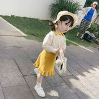 Children's Wear Girls Spring 2019 New Korean Fashion Turn Down Collar Long Sleeve+Skirt Two Piece Set 18 M 10 Year Old Baby Suit