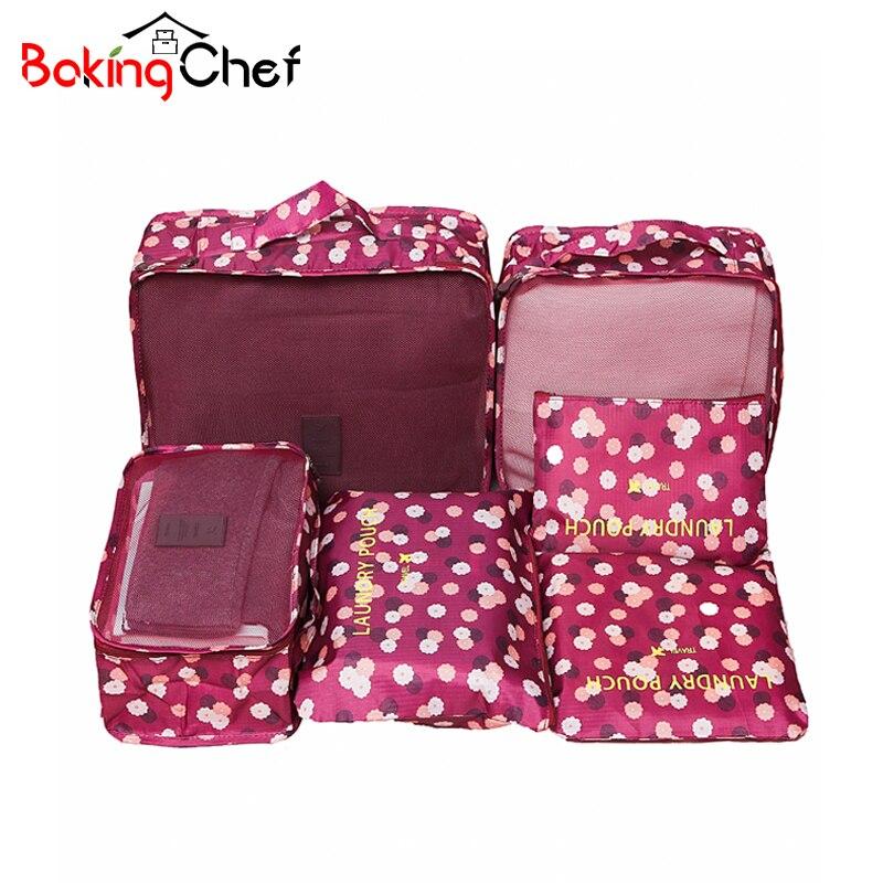 6 unids/set ropa de almacenamiento de organización de viaje maleta de lencería de divisor de bolsas a casa organizador de armario Accesorios
