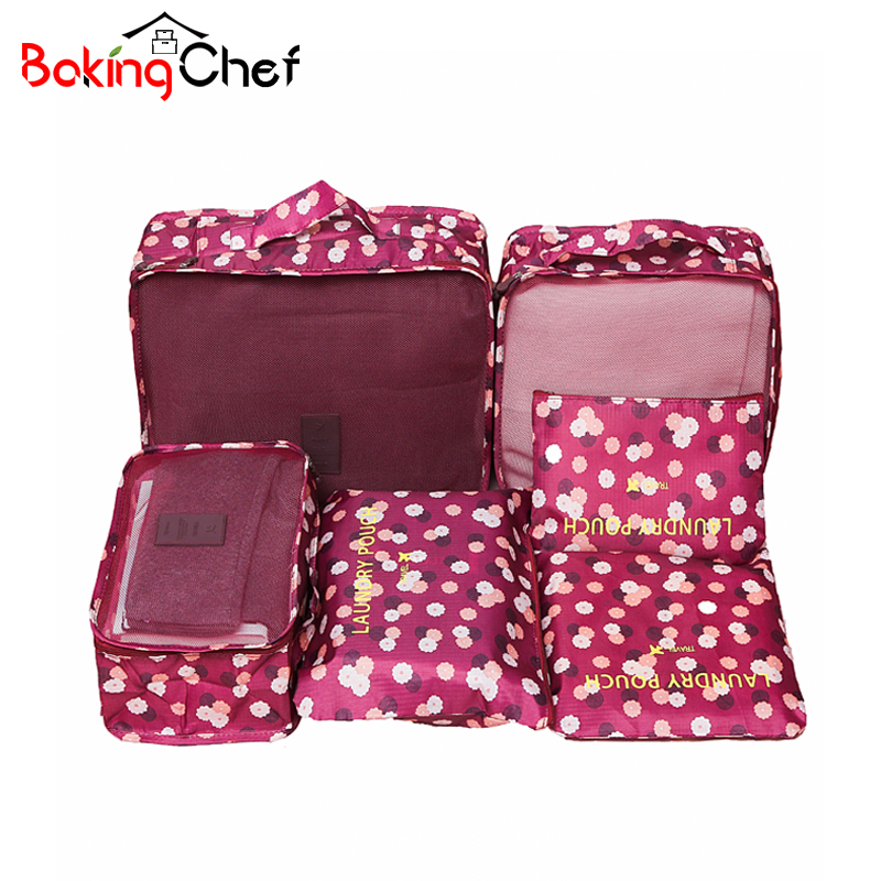 6PCS / SET Ruhaszárító szervezet Utazási szett bőrönd cipő fehérnemű kozmetikai elosztó táskák Otthoni szekrény Szervező tartozékok