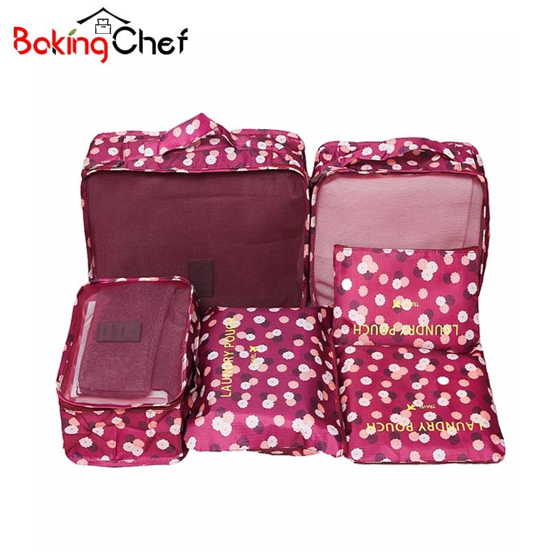 6PCS / सेट कपड़े भंडारण संगठन यात्रा सेट सूटकेस जूता अधोवस्त्र कॉस्मेटिक डिवाइडर बैग होम कोठरी आयोजक सहायक उपकरण