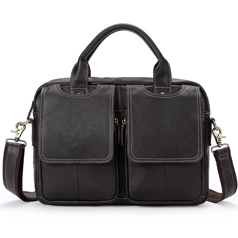 Uniego 2018 Genuine Leather Men Briefcase Vintage Male Shoulder Bag Men Crossbody Messenger Bags High Quality Male Handbag HB139