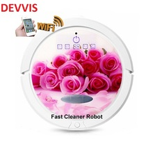 Romantic Red Rose Color WIFI Smartphone App Control Robot Vacuum Cleaner With 150ml Water Tank, Independent Wet Mop and Dry Mop