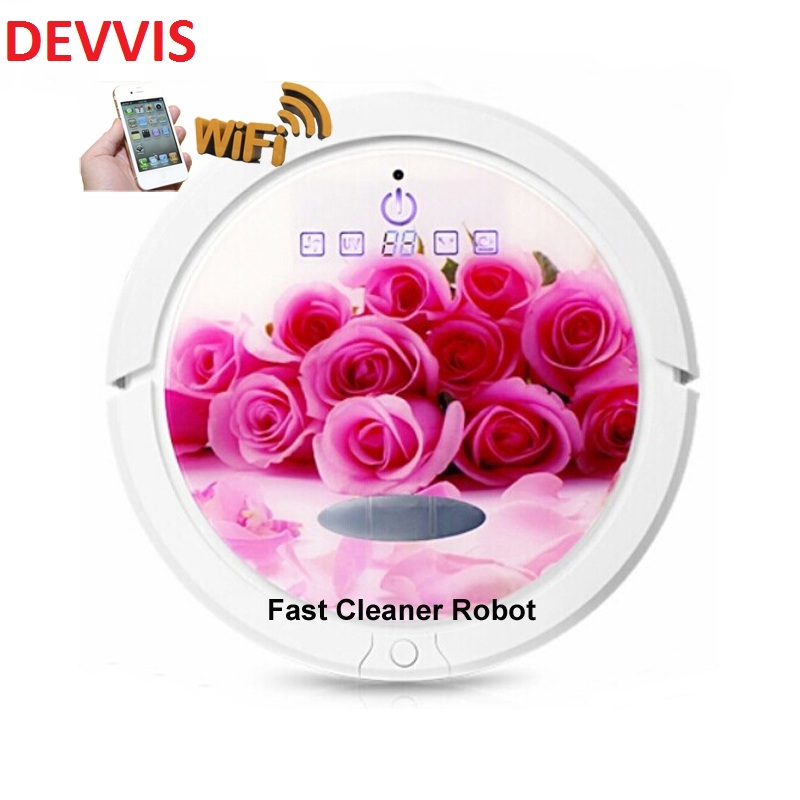 Romantic Red Rose Color WIFI Smartphone App Control Robot Vacuum Cleaner With Water Tank, Independent Wet Mop and Dry Mop cleanmate robot vacuum cleaner qq6 mini cleaner ultrasonic app in wifi control dry wet mop water tank virtual wall