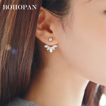 Simple Crystal Flower Stud Earrings For Women gold sliver Crystal design Geometry Stud Fashion Jewelry Statement Ear brincos