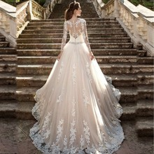 WDH47 Vestido de noiva Long Sleeves Lace Edge Wedding Dresses 2016 Cheap Wedding Gowns Casamento Robe De Mariage