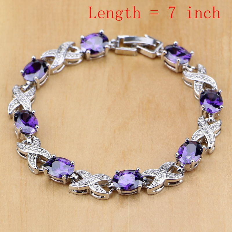 Natural 925 Perhiasan Perak Purple Cubic Zirconia Putih Kristal - Perhiasan fashion - Foto 2