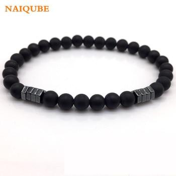 NAIQUBE 2018 New Fashion Geometric Beaded Men Bracelets Simple Classic Stone Bead Charm Bracelets & Bangles For Men Jewelry Gift