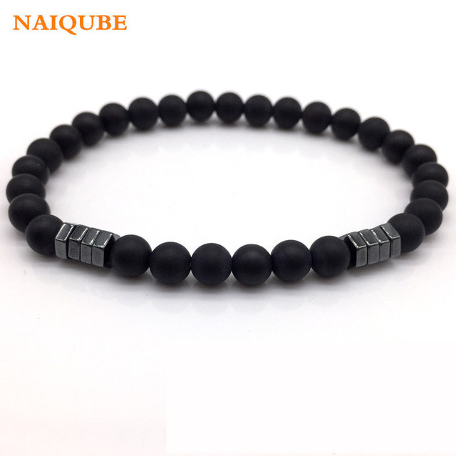 Naiqube 2018 New Fashion Stone Bead Charm Bracelet Men Jewelry 6mm Matte Bead With Column Hematite Bracelet For Men Gift by Naiqube