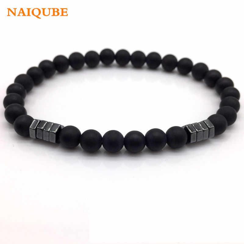 NAIQUBE 2019 New Fashion Geometric Beaded Men Bracelets Simple Classic Stone Bead Charm Bracelets & Bangles For Men Jewelry Gift