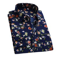 2016 Retro Floral Printed Man Shirts Fashion Classic Men Dress Shirts Quick Dry Breathable Men S