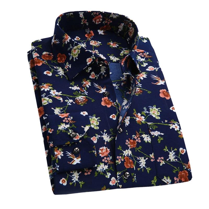 2017 ретро цветочные печатных человек повседневные рубашки модные классические мужские рубашка дышащая мужская с длинным рукавом брендовая одежда yn552