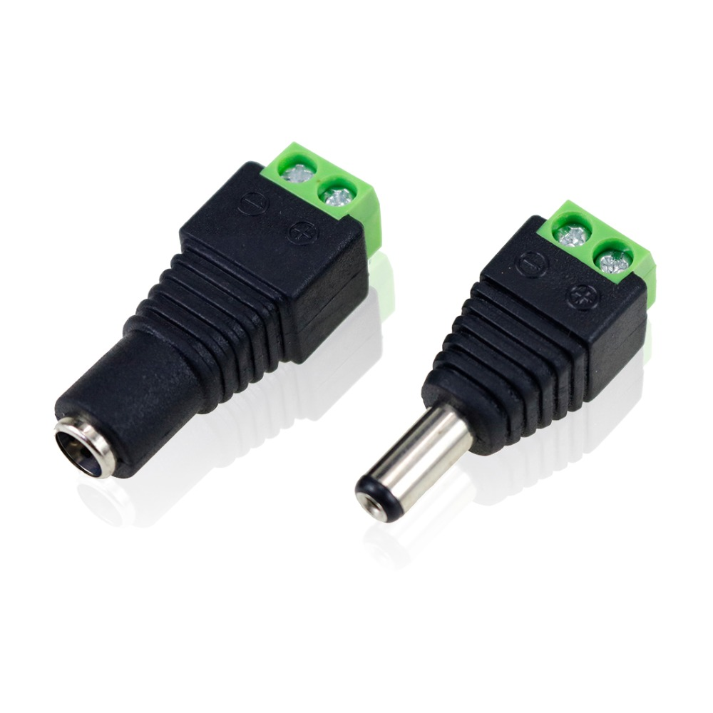 2.1*5.5mm DC Socket Connector Male Female Power Jack Adapter Plug Cable Connector For 3528 5050 LED Strip Light CCTV Cameras JQ