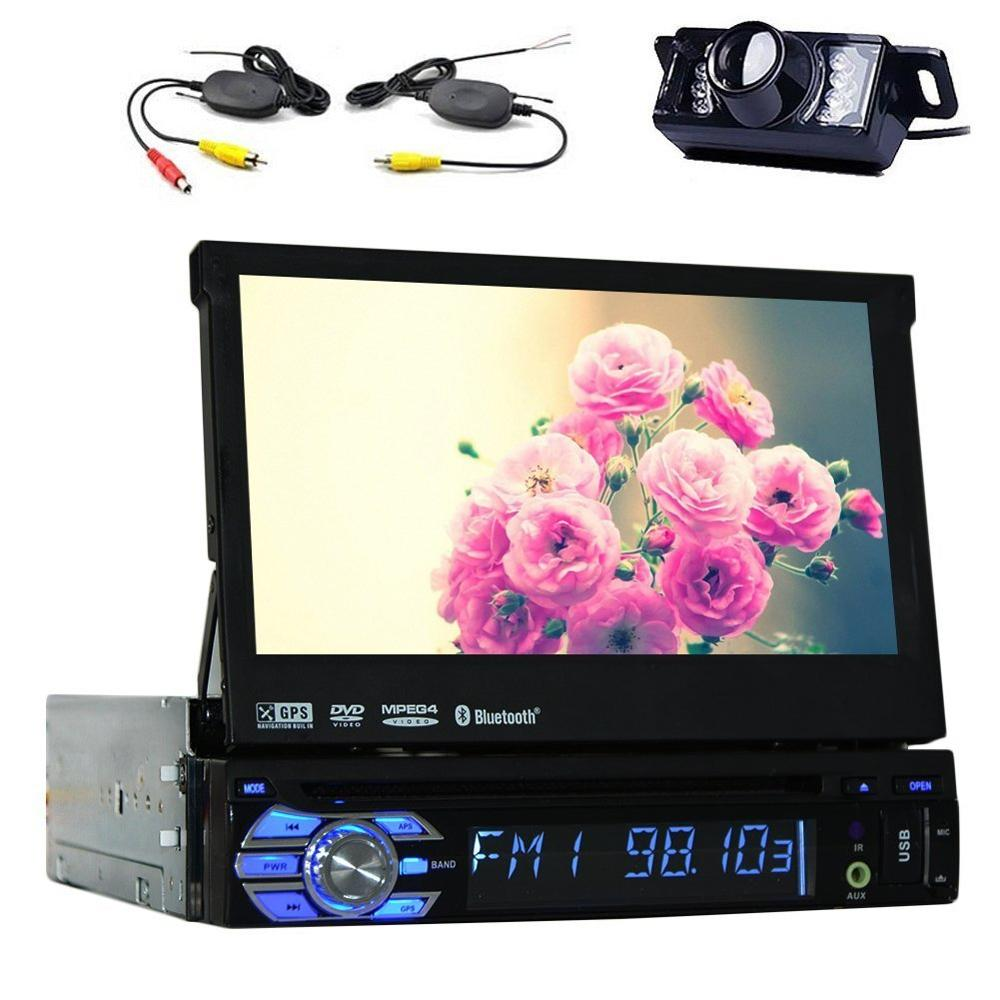 7 TouchScreen Bluetooth Car GPS Navigation Player 1 din Car Stereo DVD CD In Dash FM Radio sat nav iPod with Wireless Rear Came