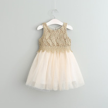 Baby Girls Crochet Lace Tulle Dresses Kids Girls Princess tutu Dress Girl Spring Luxury Party Dress 2017 children's clothing