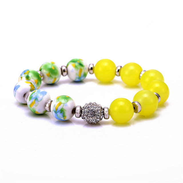 10 pcs/lot wholesale&retail 6 colors ceramics glass Beaded Rhinestone inset ball Charm Bracelets For Women  DIY Jewelry Pulsera
