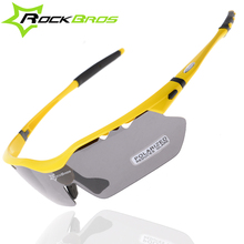 ROCKBROS Polarized Cycling Glasses Sports Sunglasses Goggles TR90 22g Yellow, White, Green, Black 4 Colors