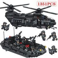 City Police Building Blocks Compatible LegoINGLYS Swat Team Transport Helicopter Large Sets Bricks Gift Toys For Children