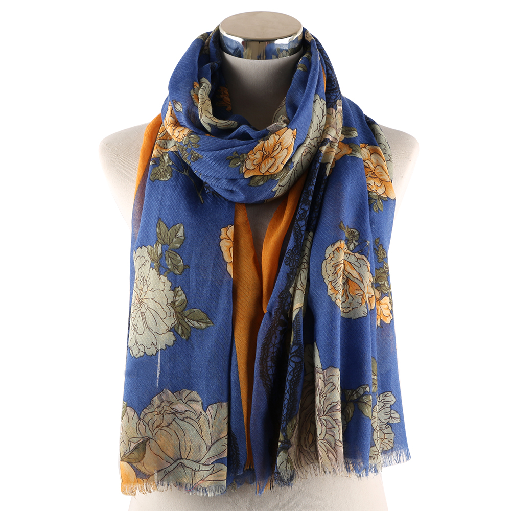 Winfox Fashion Navy Pink Yellow Soft Long Viscose Female Scarves and Wraps Hijab Floral Print Scarf Shawl For Women in Women 39 s Scarves from Apparel Accessories