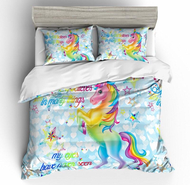 Parure de lit housse de couette licorne maison - 3