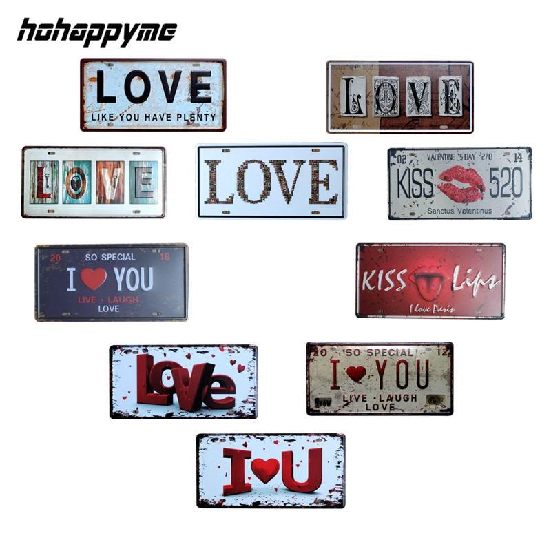 buy love plaque car license plate decor plaques wall signs metal bar pub garage. Black Bedroom Furniture Sets. Home Design Ideas