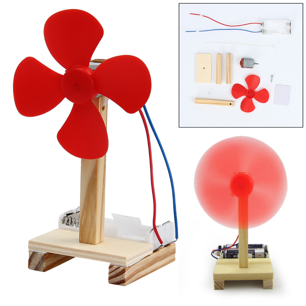 Mini Wood DIY Small Fan Manual Assembly Model Kit Gift Physical Science Experiment Teaching Accessory