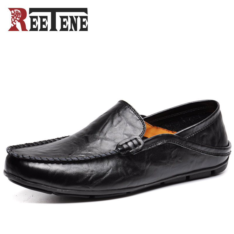 REETENE Casual Driving Shoes Men Genuine Leather Loafers Men Shoes Winter Men Loafers Luxury Brand Flats Shoes Men Chaussure недорго, оригинальная цена