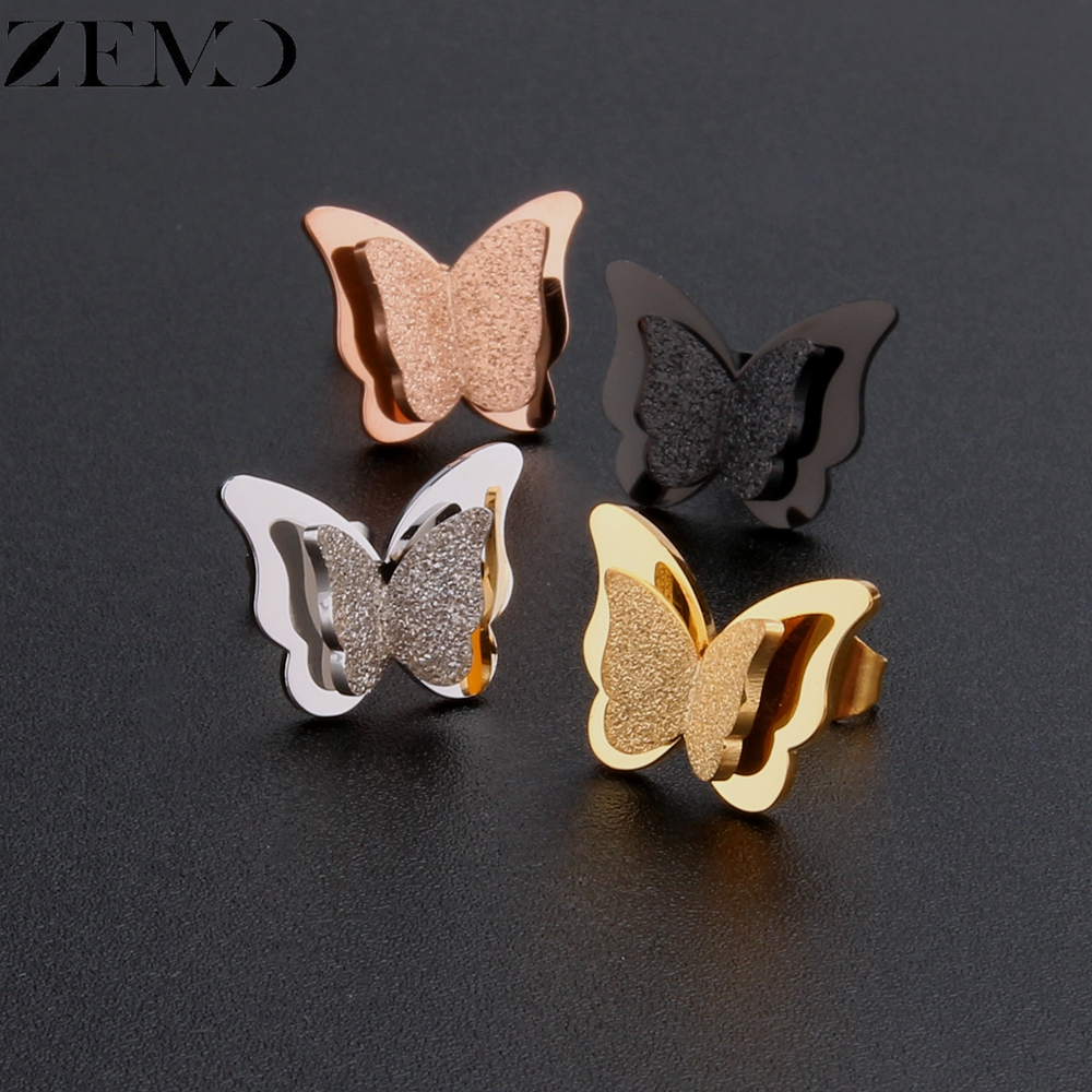 ZEMO Rose Gold Butterfly Stud Earring Female 316L Stainless Steel Black Earrings Ear Piercing Studs for Women Children`s Earring (3)