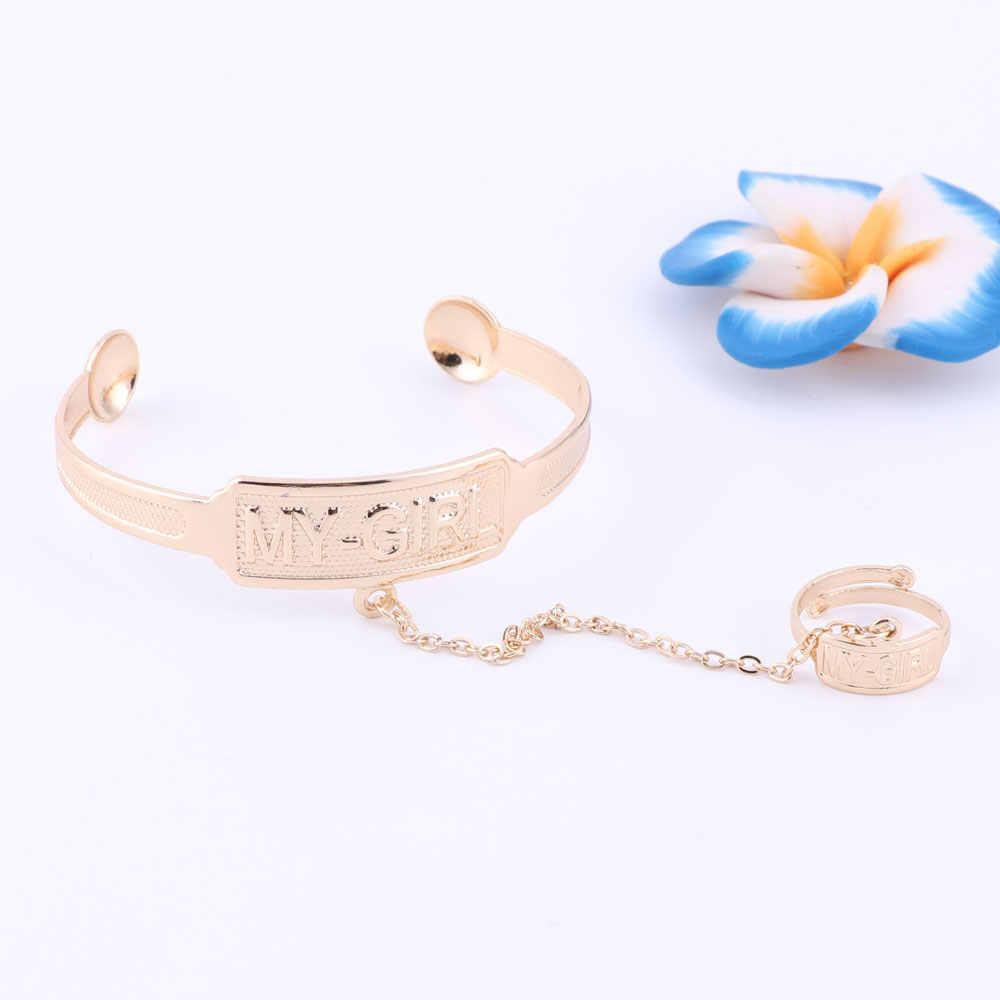 2017 neue Mode 'My Mädchen 'Kid Schmuck Sets Halskette Armband Mit Ring Gold Farbe Kinder Schmuck Für Mädchen