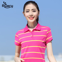 2017 M- 6XL plus size casual women polo shirts summer colorful striped cotton ralph femme short sleeve
